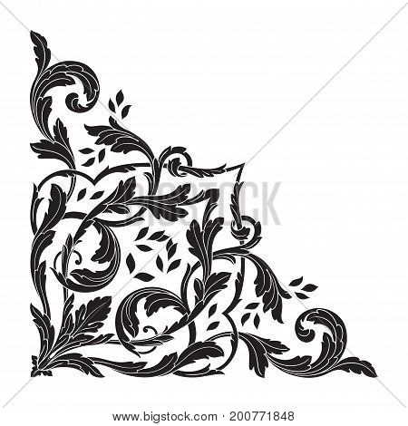 Ornament in baroque style. You can use for wedding decoration of greeting card and laser cutting.