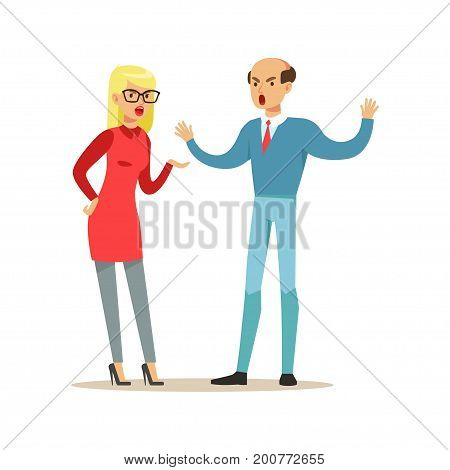 Bald man and blonde woman characters arguing and yelling on each other, negative emotions concept vector Illustration on a white background