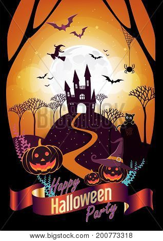 Halloween character and element design badge on full moon Background, Trick or Treat Concept, vector illustration