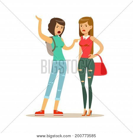 Two annoyed women characters arguing and yelling on each other, negative emotions concept vector Illustration on a white background