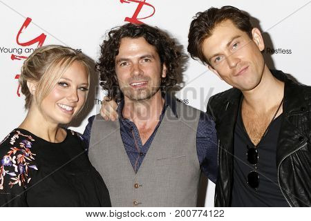 LOS ANGELES - AUG 19:  Melissa Ordway, Daniel Hall, Ryan Ashton at the Young and Restless Fan Event 2017 at the Marriott Burbank Convention Center on August 19, 2017 in Burbank, CA