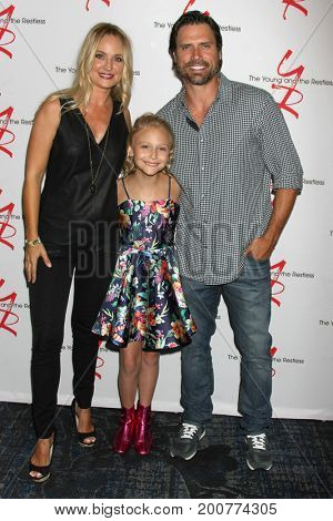 LOS ANGELES - AUG 19:  Sharon Case, Alyvia Alyn Lind, Joshua Morrow at the Young and Restless Fan Event 2017 at the Marriott Burbank Convention Center on August 19, 2017 in Burbank, CA