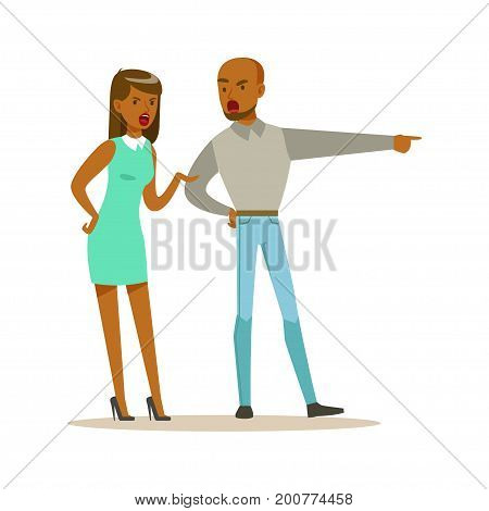 Husband and wife characters arguing and yelling on each other, negative emotions concept vector Illustration on a white background