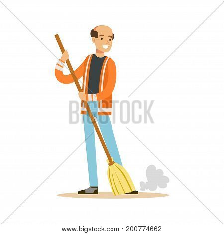 Smiling mature street sweeper at work, street cleaner character vector Illustration on a white background