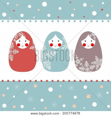 Vector illustration of Russian dolls with snowflakes.