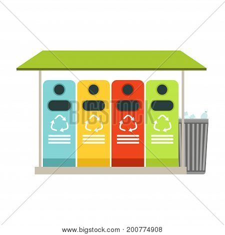 Trash recycling containers, rubbish bins row, waste recycling and utilization concept vector Illustration on a white background