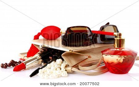 Open Bag With Female Cosmetic Snd Accessories
