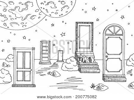 Doors landscape graphic black white sketch illustration vector