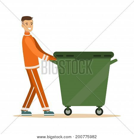 Street cleaner man in a orange uniform taking out a container with garbage, waste recycling and utilization concept vector Illustration on a white background