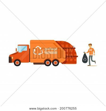 Worker loading rubbish bag into garbage collector truck, waste recycling and utilization concept vector Illustration on a white background