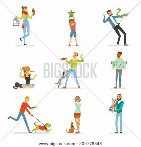 Happy people having fun with pets, man, women and kids training and playing with their pets vector Illustrations on a white background