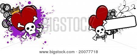 cartoon skull and heart copyspace