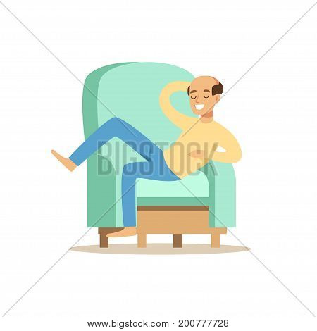 Bald smiling man sitting on a ligh blue sofa and resting vector Illustration isolated on a white background