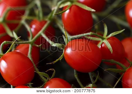 A bunch of red oblong cherry tomatoes