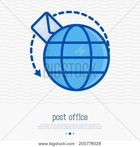 Letter flying around globe thin line icon. Symbol of quickly delivery, e-mail correspondence. Vector illustration.