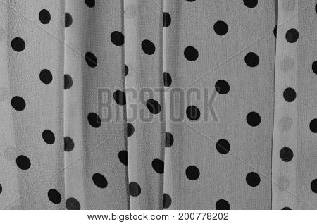 Texture of chiffon cloth with dot black and white tone
