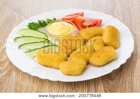 Chicken Nuggets, Vegetables, Parsley, Bowl With Mayonnaise In Plate