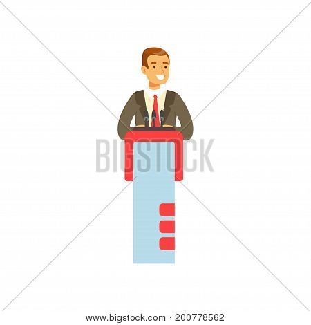 Young businessman speaking behind the podium, public speaker character vector Illustration isolated on a white background