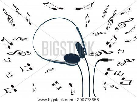 Lightweight music headphones with music notes Lightweight music headphones with music notes