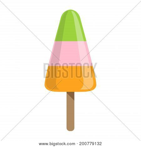 Green, Pink And Orange Ice-Cream Bar On A Stick, Colorful Popsicle Isolated Cartoon Object. Cold Sweet Dessert Frozen Sherbet Cute Childish Vector Icon.