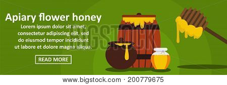 Apiary flower honey banner horizontal concept. Flat illustration of apiary flower honey banner horizontal vector concept for web