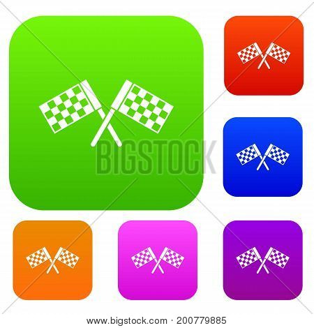 Crossed chequered flags set icon in different colors isolated vector illustration. Premium collection