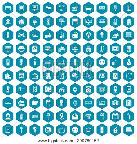 100 smart house icons set in sapphirine hexagon isolated vector illustration