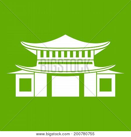 Chinese traditional building. icon white isolated on green background. Vector illustration