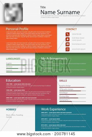Professional colored resume cv design bookmarks template vector eps 10