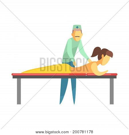 octor examining back of a young woman lying on the couch. Medical care concept. Colorful cartoon characters isolated on a white background