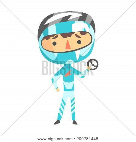 Boy In Racer Uniform Holding A Wheel Vector Cartoon Illustrations With Child Dreaming To Be A Racer. Fast Car Or Motorbike Kid Rider Future Career Dream Drawing.