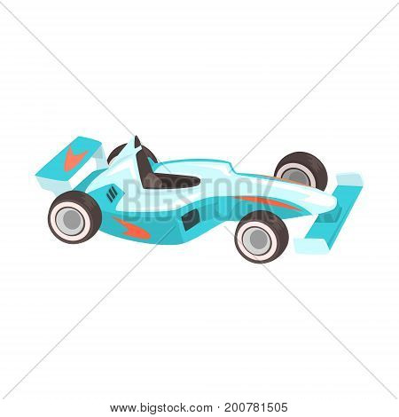Blue Sportive Car, Racing Related Objects Part Of Racer Attribute Illustration Set. Vector Cartoon Isolated Items Associated With Speed Race Sport