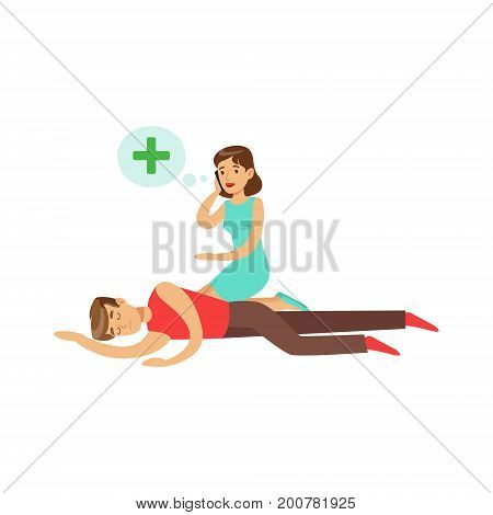 Woman calling by mobile for help to young unconscious man vector Illustration on a white background