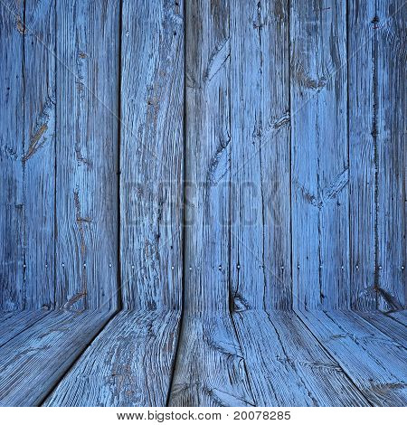 Old wooden interior painted in blue