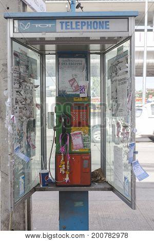 BANGYAI NONTHABURI THAILAND - AUGUST 21 2017 : Bad condition of dirty public telephone