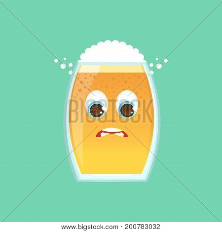 Character glass with beer, foam and bubbles. Emotional icon. In an awkward position, uncomfortable, feeling guilty. Oktoberfest. Stickers for messenger and other communications. Vector illustration.