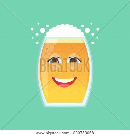 Character glass with beer foam and bubbles. Emotional icon. Embarrassed smile in love dear. To the day of the Oktoberfest. Stickers for messenger and other communications. Cartoon style.