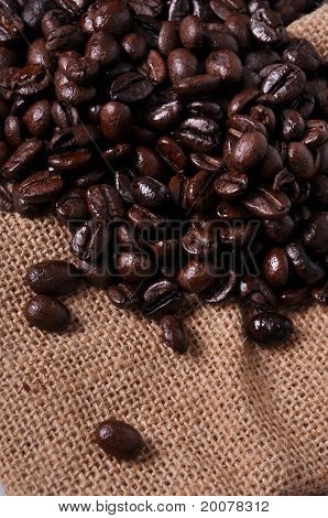 A Lot Of Coffee Beans On Sackcloth.