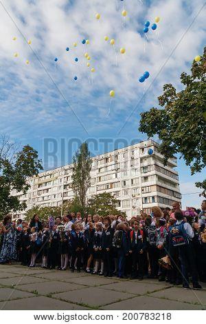 Ukraine.kiev - September 1, 2016. First-graders And Other Studen