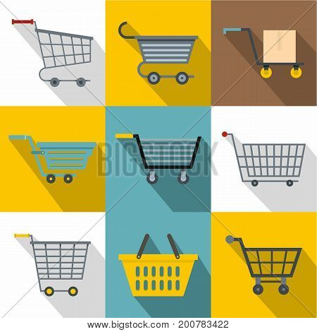 Different cart icons set. Flatset of 9 different cart vector icons for web with long shadow