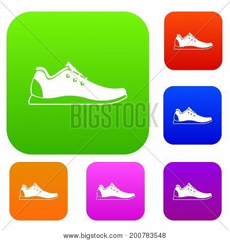 Athletic shoe set icon in different colors isolated vector illustration. Premium collection