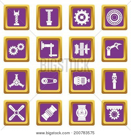 Techno mechanisms kit icons set in purple color isolated vector illustration for web and any design