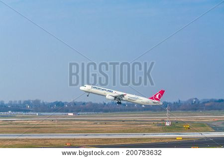 Dusseldorf NRW Germany - March 18 2015: Airbus A321 of Turkish Airlines at startup on the Dusseldorf airport.