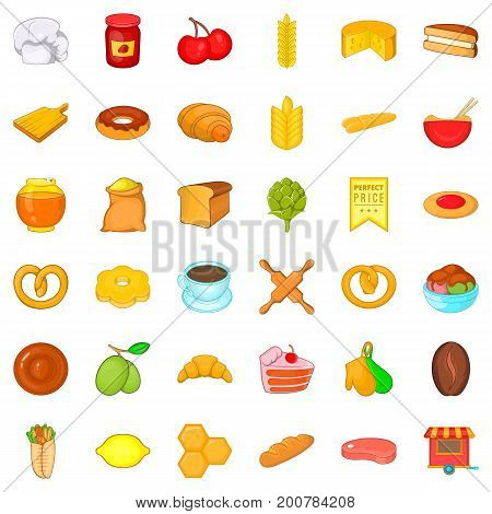 Culinary icons set. Cartoon style of 36 culinary vector icons for web isolated on white background