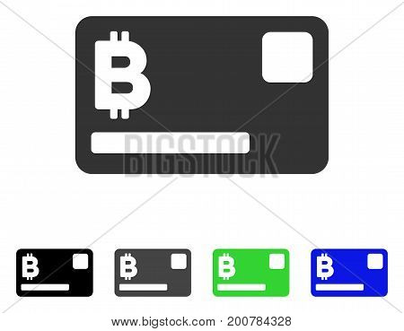 Bitcoin Credit Card flat vector illustration. Colored bitcoin credit card, gray, black, blue, green pictogram variants. Flat icon style for application design.