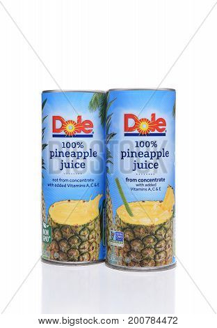 IRVINE CALIFORNIA - AUGUST 21 2017: Dole Pineapple Juice. The pure juice can be drunk on its own or used in drink recipies and marinades.