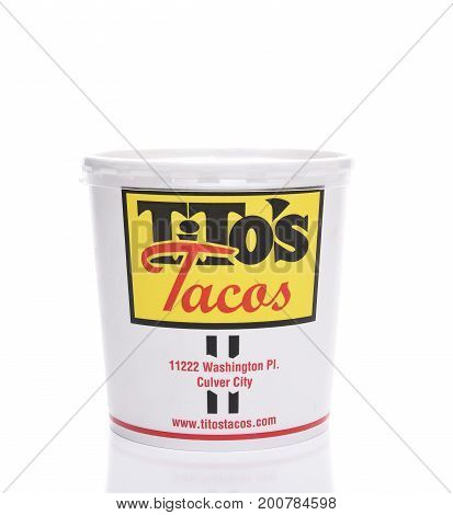IRVINE CALIFORNIA - AUGUST 21 2017: Titos Tacos to-go-container. Titos Tacos is a Los Angeles based fast food Mexican Restaurant considered one of the best in the country.
