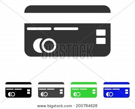 Credit Card flat vector illustration. Colored credit card, gray, black, blue, green pictogram versions. Flat icon style for graphic design.