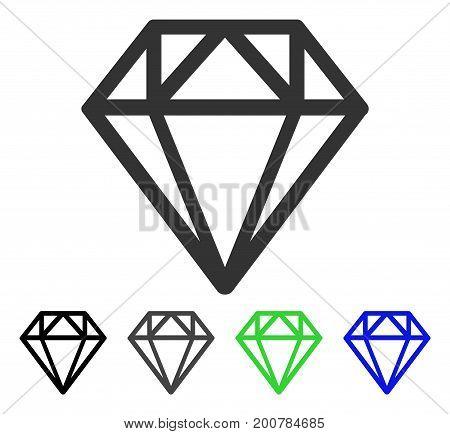 Diamond flat vector illustration. Colored diamond, gray, black, blue, green pictogram versions. Flat icon style for application design.