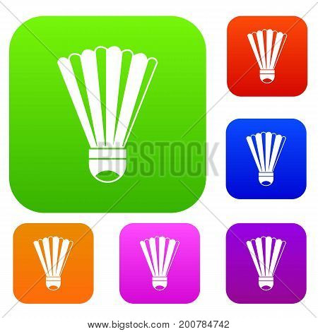 Shuttlecock set icon in different colors isolated vector illustration. Premium collection